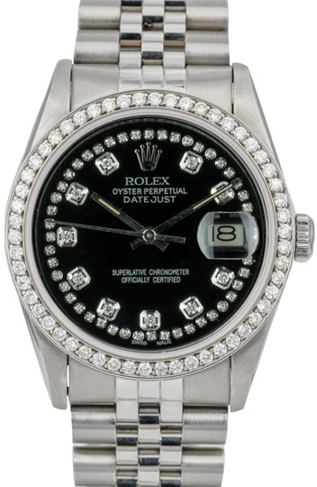 Preload https://img-static.tradesy.com/item/24127125/rolex-black-datejust-36mm-stainless-steel-diamond-dial-diamond-bezel-watch-0-1-540-540.jpg