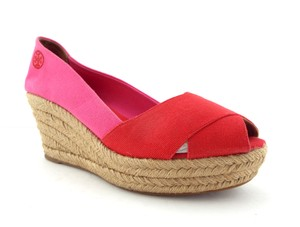 Tory Burch Crisscross Vamp Filipa Pumps Double T Jute Red / Pink Wedges