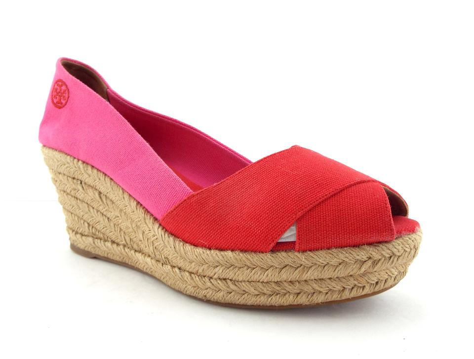 fed7f7ddd209b0 Tory Burch Red   Pink Canvas Open Toe Espadrille Wedges Size US 11 ...