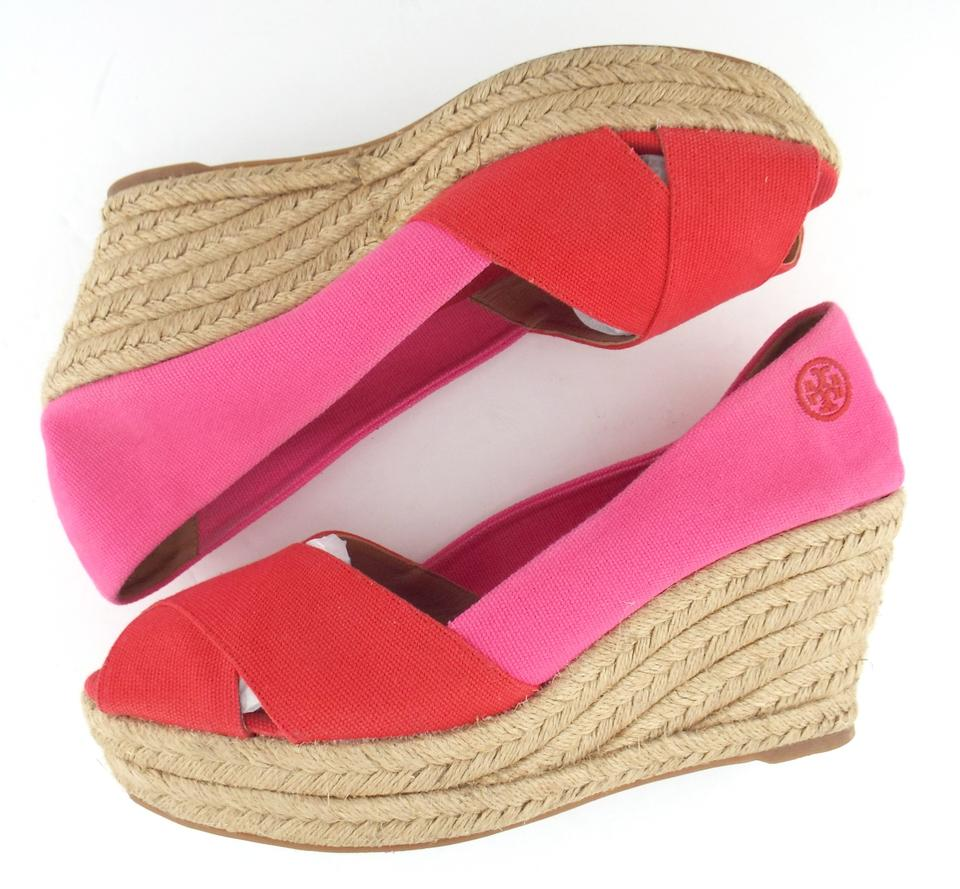 6bd70b5773a Tory Burch Red   Pink Canvas Open Toe Espadrille Wedges Size US 11 Regular  (M