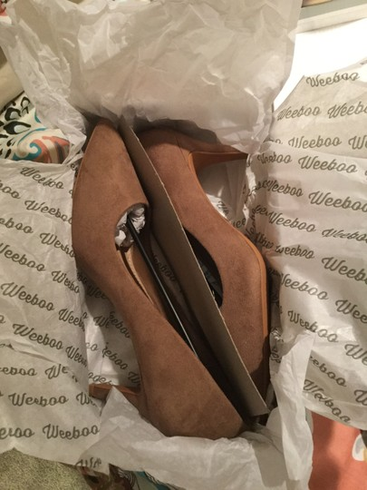 Weeboo Man Made Faux Suede Vegan Taupe Pumps Image 1