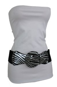Alwaystyle4you N Women Belt Black Silver Elastic Belt Zebra Animal Print Round Buckle