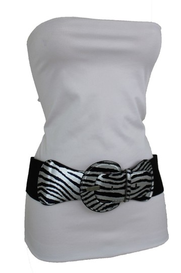 Preload https://img-static.tradesy.com/item/24127460/black-silver-n-women-elastic-zebra-animal-print-round-buckle-belt-0-0-540-540.jpg