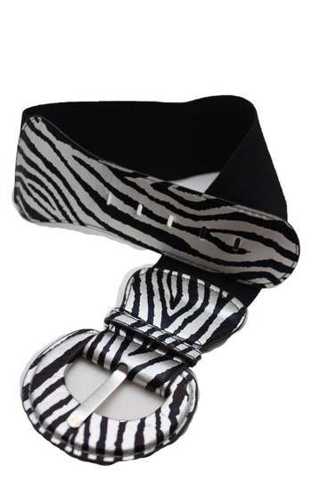 Alwaystyle4you N Women Belt Black Silver Elastic Belt Zebra Animal Print Round Buckle Image 2