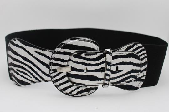 Alwaystyle4you N Women Belt Black Silver Elastic Belt Zebra Animal Print Round Buckle Image 3
