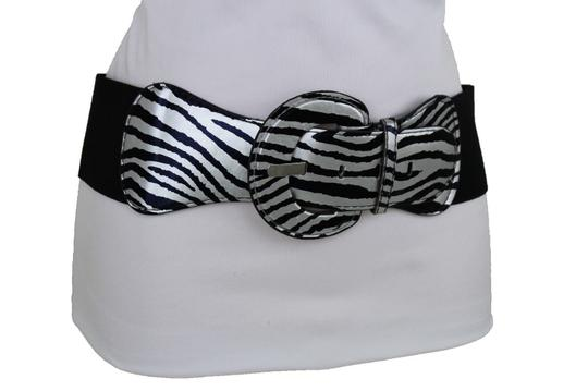 Alwaystyle4you N Women Belt Black Silver Elastic Belt Zebra Animal Print Round Buckle Image 4