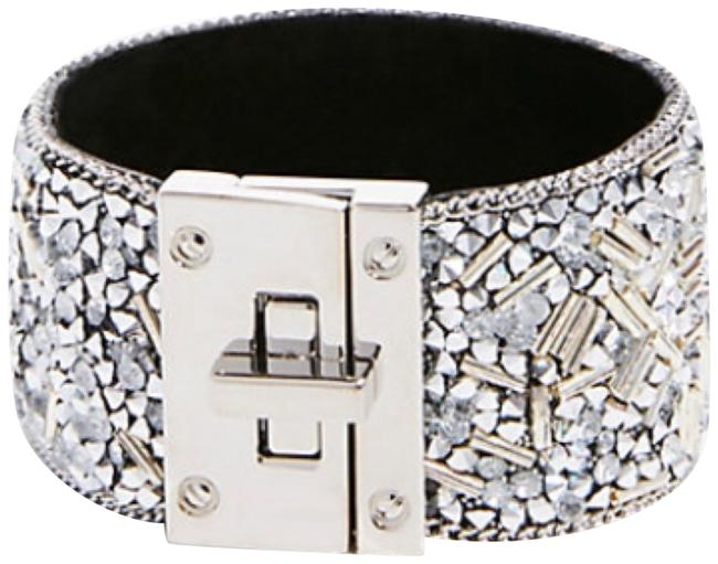Express Silver Faceted Bead Turn Lock Cuff Bracelet Express Silver Faceted Bead Turn Lock Cuff Bracelet Image 1