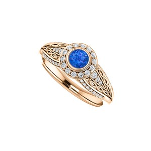 DesignByVeronica Sapphire and CZ Leaf Pattern Ring 14K Rose Gold Vermeil