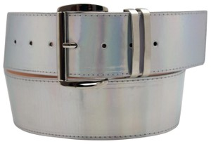 Alwaystyle4you Women Fashion Belt Hip Shiny Silver Faux Leather Metal Buckle M-XL