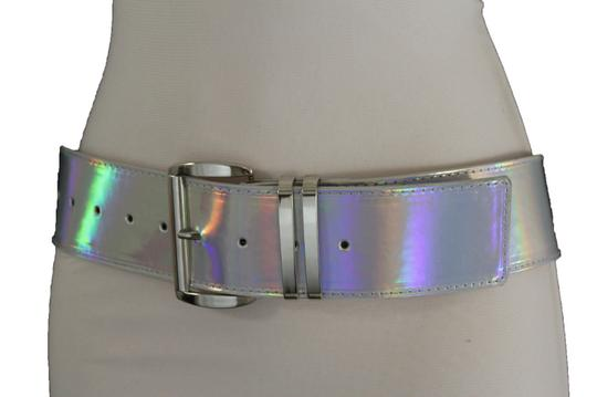 Alwaystyle4you Women Fashion Belt Hip Shiny Silver Faux Leather Metal Buckle M-XL Image 10