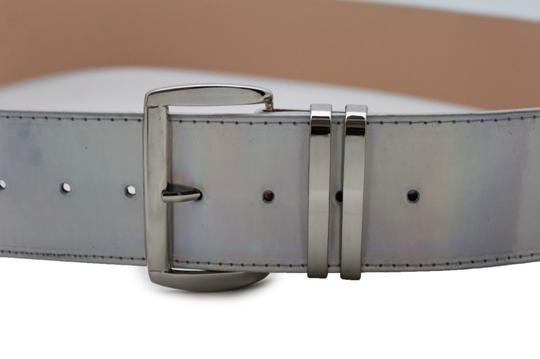 Alwaystyle4you Women Fashion Belt Hip Shiny Silver Faux Leather Metal Buckle M-XL Image 3