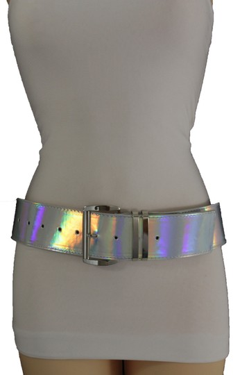 Alwaystyle4you Women Fashion Belt Hip Shiny Silver Faux Leather Metal Buckle M-XL Image 4