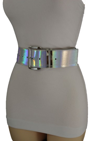 Alwaystyle4you Women Fashion Belt Hip Shiny Silver Faux Leather Metal Buckle M-XL Image 5