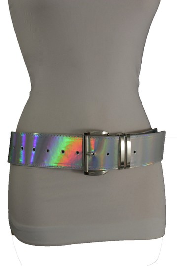 Alwaystyle4you Women Fashion Belt Hip Shiny Silver Faux Leather Metal Buckle M-XL Image 6