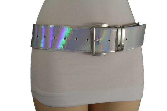 Alwaystyle4you Women Fashion Belt Hip Shiny Silver Faux Leather Metal Buckle M-XL Image 7