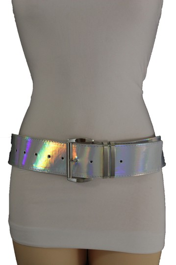 Alwaystyle4you Women Fashion Belt Hip Shiny Silver Faux Leather Metal Buckle M-XL Image 8