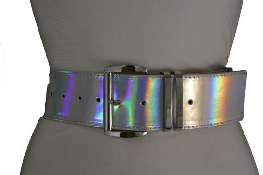 Alwaystyle4you Women Fashion Belt Hip Shiny Silver Faux Leather Metal Buckle M-XL Image 9