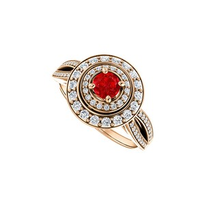DesignByVeronica Double Halo Curve Split Shank Ruby and CZ Ring Vermeil
