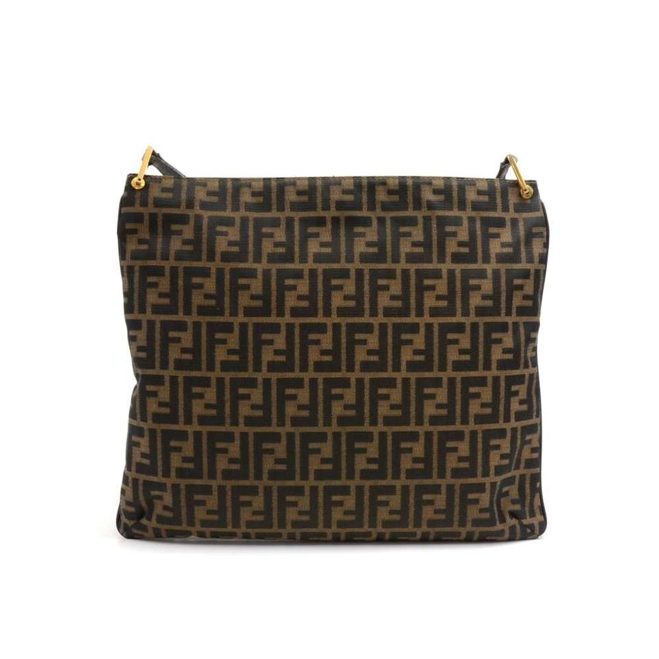Fendi Vintage Tobacco Zucca Monogram   Leather Brown Canvas Shoulder ... 3cb36e672e7df