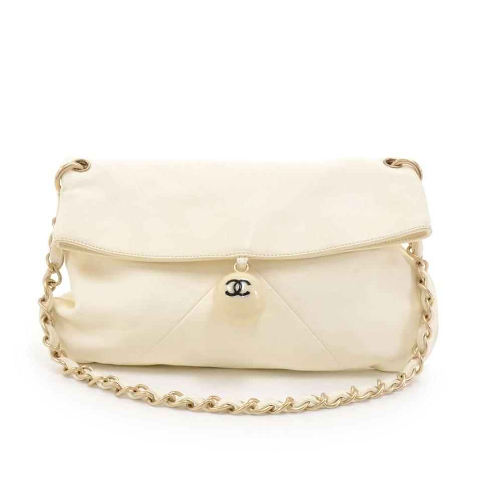 17b2d56cc9ca49 Chanel Ball Charm Fold-over Bag-rare White Lambskin Leather Shoulder ...