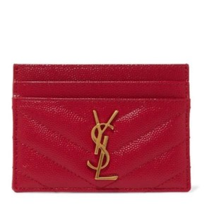Saint Laurent monogram quilted leather card holder case
