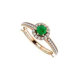 DesignByVeronica Emerald Cubic Zirconia 14K Rose Gold Vermeil Halo Ring