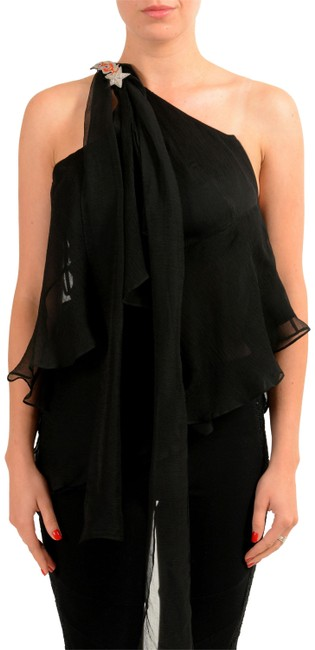 Just Cavalli Black Kj-13729 Blouse Size 4 (S) Just Cavalli Black Kj-13729 Blouse Size 4 (S) Image 1