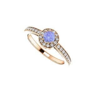 DesignByVeronica Simulated Tanzanite and CZ Halo Ring Rose Gold Vermeil