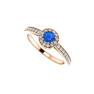DesignByVeronica Simulated Sapphire and CZ Halo Ring Rose Gold Vermeil