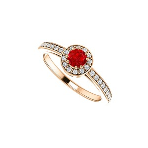 DesignByVeronica Simulated Ruby and CZ Halo Ring 14K Rose Gold Vermeil