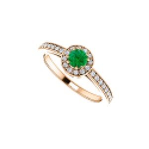 DesignByVeronica Simulated Emerald and CZ Halo Ring Rose Gold Vermeil