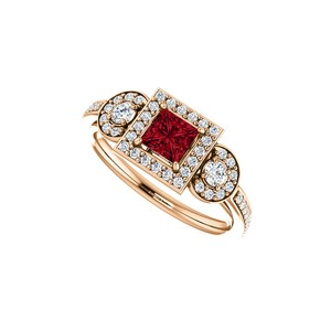 DesignByVeronica New Design Square Ruby Round CZ Halo Ring in Vermeil