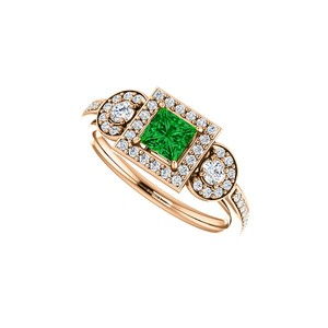 DesignByVeronica Square Emerald Round CZ New Design Halo Ring in Vermeil