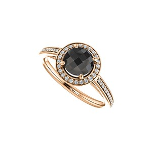 DesignByVeronica Round Black Onyx and CZ Halo Ring 14K Rose Gold Vermeil
