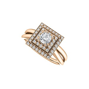 DesignByVeronica Cubic Zirconia 14K Rose Gold Vermeil Square Halo Ring