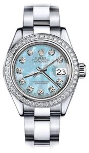 Rolex Rolex Baby Blue Pearl TR 36mm Datejust SS Oyster Bracelet & Auth