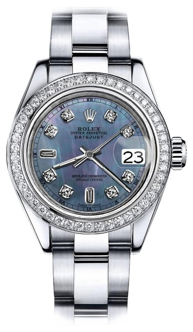 Rolex Stainless Steel Black Tahitian Pearl 8+2 Tr 36mm Datejust Bracelet Watch Rolex Stainless Steel Black Tahitian Pearl 8+2 Tr 36mm Datejust Bracelet Watch Image 1