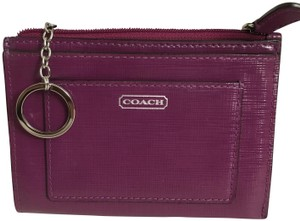 Coach COACH DARCY PLUM SAFFIANO LEATHER MEDIUM SKINNY KEYCHAIN WALLET F50425