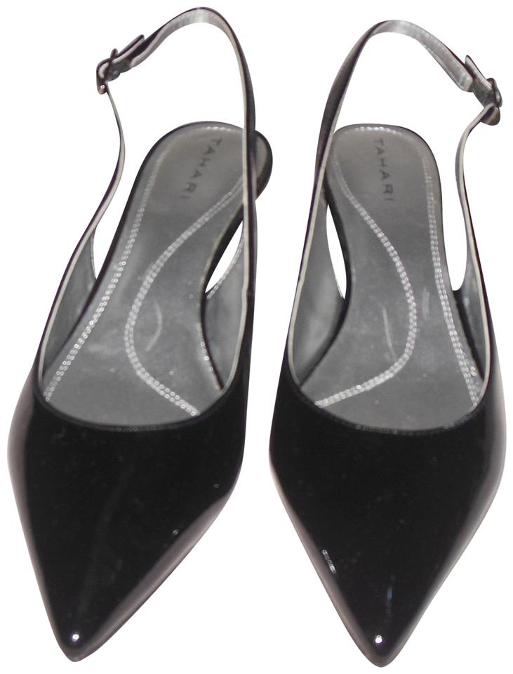 f85c7547859 Tahari Black Patent Leather Kitten Heel Pointy Pumps Size US 7.5 ...