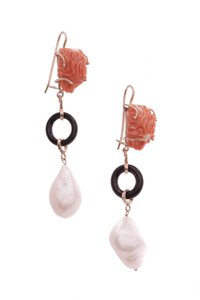 Fine Jewelry Fine Jewelry 14K Yellow Gold Carved Coral Lion & Baroque Pearl Drop Ea