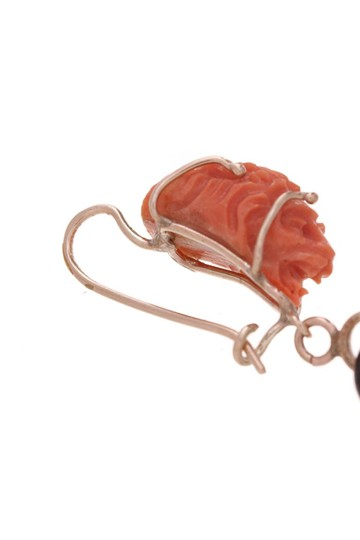 Fine Jewelry Fine Jewelry 14K Yellow Gold Carved Coral Lion & Baroque Pearl Drop Ea Image 1