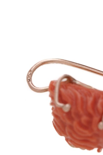 Fine Jewelry Fine Jewelry 14K Yellow Gold Carved Coral Lion & Baroque Pearl Drop Ea Image 2