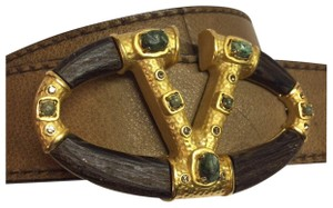 Valentino Valentino Brown Leather Brown Gold Wood Logo Gemstones Buckle Belt Siz
