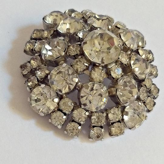 Vintage Antique Brooch Crystal Rhinestone 40s 1940s Dome Domed Pin Vintage Image 1