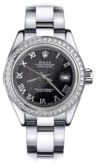 Preload https://img-static.tradesy.com/item/24128442/rolex-stainless-steel-logo-black-roman-track-36mm-datejust-ss-oyster-bracelet-watch-0-1-540-540.jpg