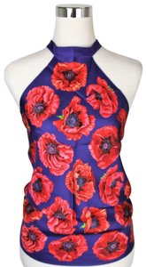 Gucci Silk Scarf Floral Blue/Red Halter Top