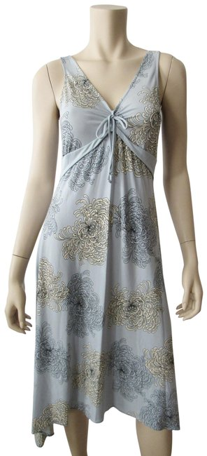 Item - Smoky Grey Neck Knee Length Floral Cocktail Evening Mid-length Night Out Dress Size 8 (M)