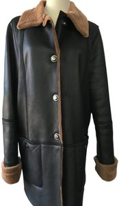 Louis Feraud Leather Shearling Winter Commuter Fur Coat