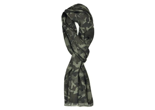 Item - Green Camouflage Print Silk Double Side Fringed E656 Scarf/Wrap