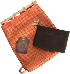 Henry Beguelin Handcrafted Made In Italy Soft Calfskin Rare Leather And Linen Backpack